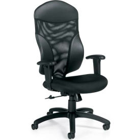 Global™ Mesh Back Office Chair - Fabric - High Back - Black - Tye Series