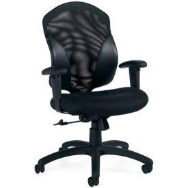 Global™ Mesh Back Office Chair - Fabric - Mid Back - Black - Tye Series
