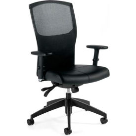 Global™ Mesh Back Tilter Office Chair - Leather - High Back - Black - Alero Series