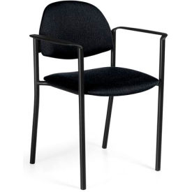 Global™ Comet - Fabric Upholstered Stacking Armchair - Black Fabric Upholstery - Pkg Qty 3