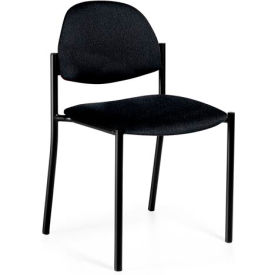 Global™ Armless Stacking Chair - Fabric - Black - Comet Series