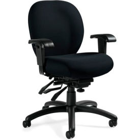 Global™ Mallorca - Medium Back Multi - Tilter With Arms - Black Fabric Upholstery