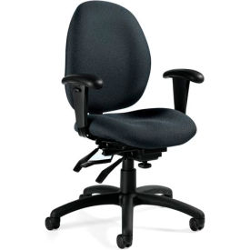 Global™ Tilter Office Chair with Arms - Fabric - Low Back - Gray - Malaga Series