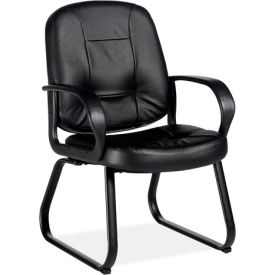 Global™ Guest Chair with Arms and Sled Base - Leather - Black - Arno Series