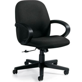 Global™ Enterprise - Low Back Tilter With Fixed Loop Arms - Black Fabric Upholstery