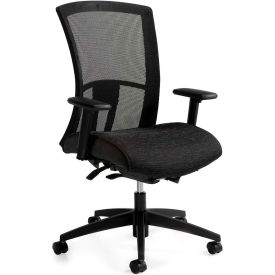 Global™ Mesh Back Chair w/ Weight Sensing Tilt - Fabric - High Back - Black - Vion Series