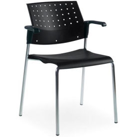 Sonic - Stacking Chair With Arms - Black