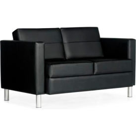 Global™ Reception Two Seat Sofa - Leather -Black - Citi Series