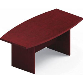 Global™ 6' Boardroom Table - Boat Shaped - Laminate - Quartered Mahogany