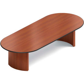 "Global™ Boardroom Table - Racetrack - Laminate - 120""L x 48""W - Quartered Mahogany"