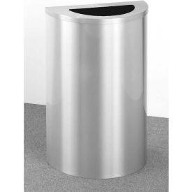 Glaro 14 Gallon Half Round Waste Receptacle, Satin Aluminum - 1891-SA-SA