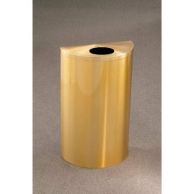 Glaro 14 Gallon Half Round Bottles/Cans Wall Mount Receptacle, Satin Brass - 1892-BE-BE-WM189