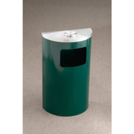 Glaro 6 Gal Half Round Ash/Urn Side Open Wall Receptacle, Satin Black/Satin Alum - 1894-BK-SA-WM189