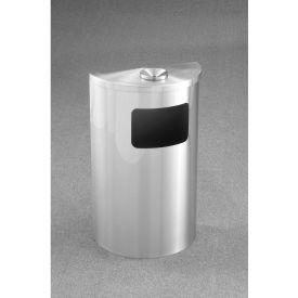 Glaro 6 Gallon Half Round Ash/Urn Side Opening Waste Receptacle, Satin Aluminum - 1894-SA-SA