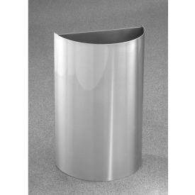 Glaro 16 Gallon Half Round Open Top Waste Receptacle Without Liner, Satin Aluminum - 1896-SA