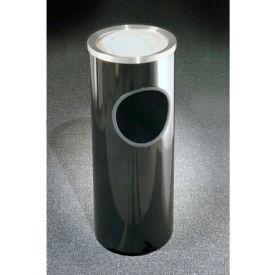 Glaro 3 Gallon Ash/Trash Receptacle w/Sand Cover, Satin Black/Satin Aluminum Lid - 192-BK-SA