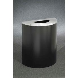 Glaro 29 Gallon Half Round Opening Waste Receptacle, Satin Black/Satin Aluminum - 2491-BK-SA