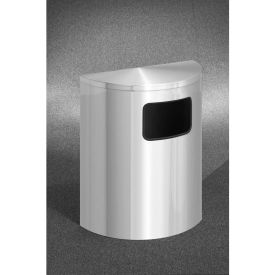 Glaro 24 Gallon Half Round Side Opening Waste Receptacle, Satin Aluminum - 2493-SA-SA