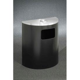 Glaro 24 Gal Half Round Ash/Urn Side Opening Waste Receptacle, Satin Black/Satin Aluminum-2494-BK-SA