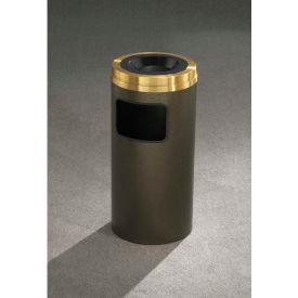 Glaro 17 Gallon Ash/Trash Receptacle w/Sand Cover, Satin Black/Satin Brass Lid - C2060-BK-BE