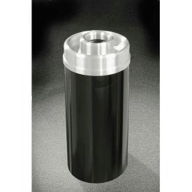 Glaro 16 Gallon Ash/Trash Receptacle w/Donut Top, Satin Black/Satin Aluminum Lid - D1533-BK-SA