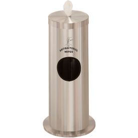 Glaro 2 Gallon Floor Standing Sanitary Wipe Dispenser w/Sign, Satin Aluminum - F1029-S-SA