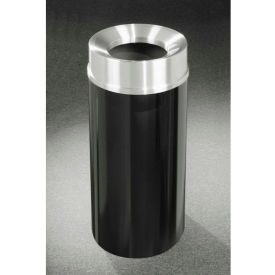 Glaro 12 Gallon Waste Receptacle w/Funnel Top, Satin Black/Satin Aluminum Lid - F1232-BK-SA
