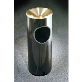 Glaro 3 Gallon Ash/Trash Receptacle w/Funnel Top Ash, Midnight Blue/Satin Brass Lid - F141-BL-BE