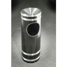 Glaro 3 Gallon Ash/Trash Receptacle w/Funnel Cover, Satin Black/Satin Aluminum Band - F1956-BK-SA