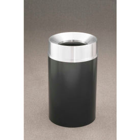 Glaro 33 Gallon Waste Receptacle w/Funnel Top, Satin Black/Satin Aluminum Lid - F2035-BK-SA