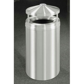 Glaro 33 Gallon Ash/Trash Receptacle w/Canopy Top, Satin Aluminum - H2002SA