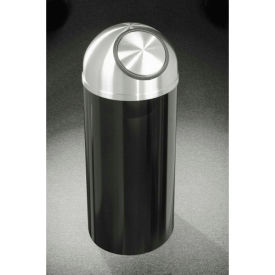Glaro 8 Gallon Waste Receptacle w/Self Close Dome Top, Satin Black/Satin Aluminum Lid - S1230-BK-SA