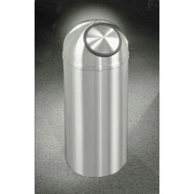 Glaro 8 Gallon Waste Receptacle w/Self Closing Dome Top, Satin Aluminum - S1230SA