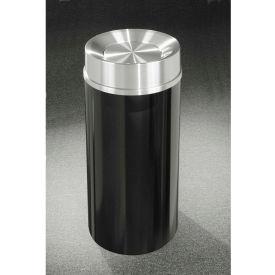 Glaro 33 Gallon Waste Receptacle w/Tip Action Top, Satin Black/Satin Aluminum Lid - TA2035-BK-SA