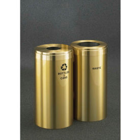 Glaro Value Recyclepro 2 Unit Satin Brass, (2) 15 Gallon Bottles/Cans/Waste - 1242-2-BE