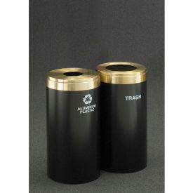 Glaro Value Recyclepro 2 Unit Hunter Green/Satin Brass (2) 15 Gallon, Bottles/Cans/Waste - 1242-2