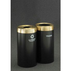 Glaro Value Recyclepro 2 Unit Hunter Green/Satin Aluminum, (2) 23 Gallon Bottles/Cans/Waste - 1542-2