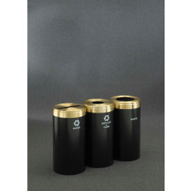 Glaro Value Recyclepro 3 Unit Gloss Brass, (3) 23 Gallon Bottles/Cans/Paper/Waste - 1542-3