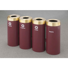 Glaro Value Recyclepro 4 Unit Burgundy/Satin Aluminum, (4) 23 Gallon Bottle/Paper/Waste/Can - 1542-4