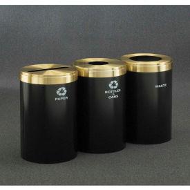 Glaro Value Recyclepro 3 Unit Burgundy/Satin Aluminum, (3) 41 Gallon Bottle/Can/Paper/Waste - 2042-3