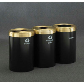 Glaro Value Recyclepro 3 Unit Gloss Brass, (3) 41 Gallon Bottles/Cans/Paper/Waste - 2042-3