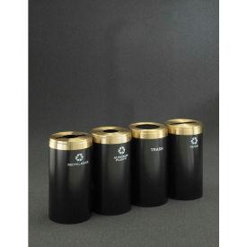 Glaro Value Recyclepro 4 Unit Burgundy/Satin Aluminum, (4) 41 Gallon Bottle/Paper/Waste/Can - 2042-4