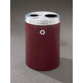 Glaro Recyclepro 2 Stream Burgundy/Satin Aluminum, (2) 16-1/2 Gallon Bottles/Cans/Waste - BW-2032