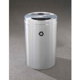 Glaro Recyclepro 2 Stream Satin Aluminum, (2) 16-1/2 Gallon Mixed Recycle/Trash - MT-2032-SA
