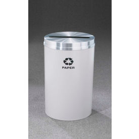 Glaro Recyclepro Single Stream Hunter Green/Satin Aluminum, 33 Gallon Paper - P-2032