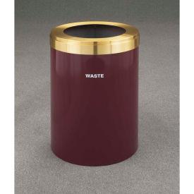 Glaro Value Recyclepro Single Stream Burgundy/Satin Brass, 41 Gallon Waste - W-2042