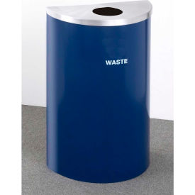 Glaro Value Recyclepro Single Stream Half Round Satin Black/Satin Aluminum, 16 Gallon Waste - W1899V