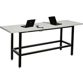"""Standing Height Table with Power - 72""""L x 30""""W x 42""""H - Laminate - Gray"""