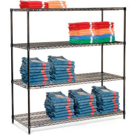 "Nexel Black Epoxy Wire Shelving, 60""W X 18""D X 63""H"