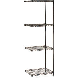 "Nexel Black Epoxy Wire Shelving Add-On, 24""W X 18""D X 74""H"